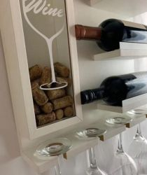 Mini Adega Parede Barzinho Vinho Decoração Porta Taça e Rolhas Mdf 45x41 BRANCO - CJA Decorações