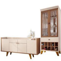 Kit Para Sala de Jantar Aparador 04 Portas Havana B01 com Cristaleira Luma Off White Nature - Lyam Decor